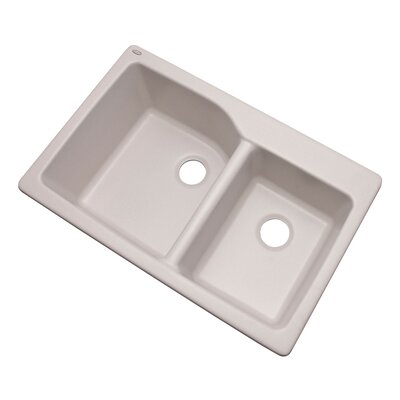 Grande 33 x 22 Double Basin Undermount/Drop-In Kitchen Sink Finish: Soft White, Faucet Drillings: No hole