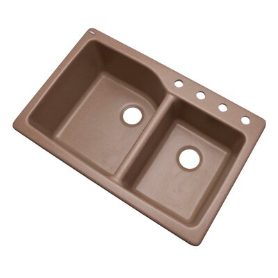 Grande 33 x 22 Double Basin Undermount/Drop-In Kitchen Sink Finish: Natural, Faucet Drillings: 4 hole