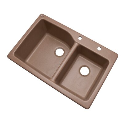 Grande 33 x 22 Double Basin Undermount/Drop-In Kitchen Sink Finish: Natural, Faucet Drillings: 2 hole