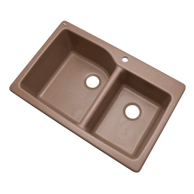 Grande 33 x 22 Double Basin Undermount/Drop-In Kitchen Sink Finish: Natural, Faucet Drillings: 1 hole