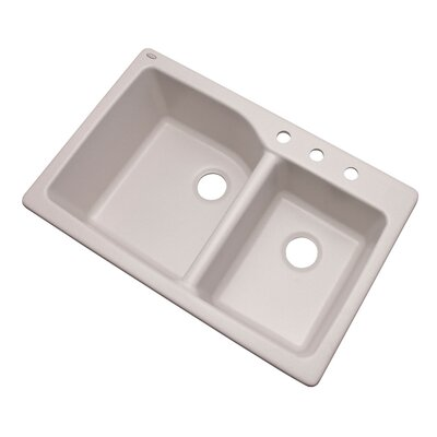 Grande 33 x 22 Double Basin Undermount/Drop-In Kitchen Sink Finish: Soft White, Faucet Drillings: 3 hole