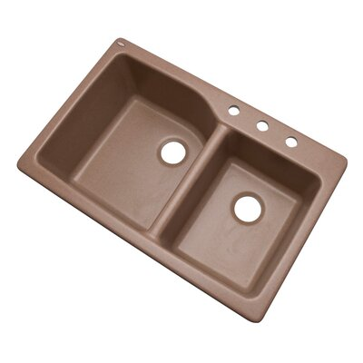 Grande 33 x 22 Double Basin Undermount/Drop-In Kitchen Sink Finish: Natural, Faucet Drillings: 3 hole