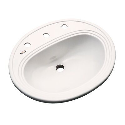 Sierra Oval Self Rimming Bathroom Sink with Overflow Sink Finish: Bone, Faucet Mount: 8 Centers