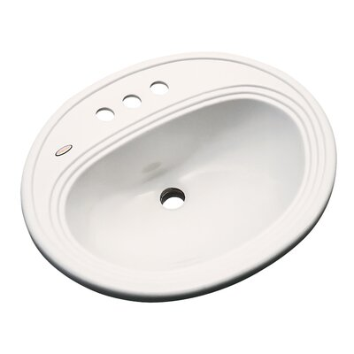 Sierra Oval Self Rimming Bathroom Sink with Overflow Sink Finish: Almond, Faucet Mount: 4 Centers