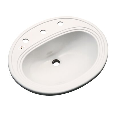 Sierra Oval Self Rimming Bathroom Sink with Overflow Sink Finish: Almond, Faucet Mount: 8 Centers