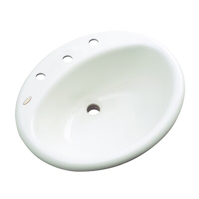 Bayport Oval Drop-In Bathroom Sink with Overflow Sink Finish: White, Faucet Mount: 8 Centers