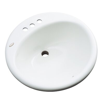 Danbury Circular Drop-In Bathroom Sink with Overflow Sink Finish: White, Faucet Mount: 4 Centers