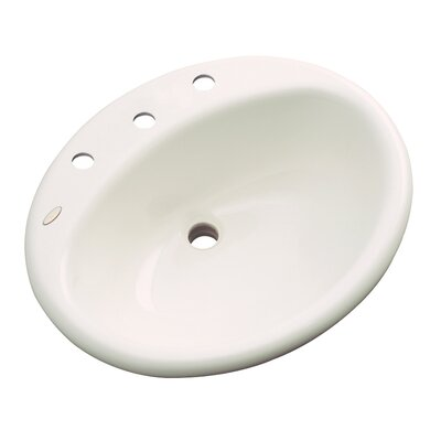 Bayport Oval Self Rimming Bathroom Sink with Overflow Sink Finish: Bone, Faucet Mount: 8 Centers