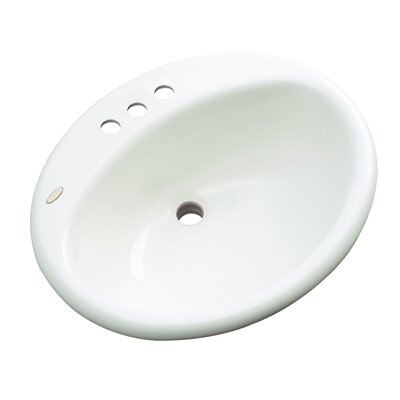 Bayport Oval Self Rimming Bathroom Sink with Overflow Sink Finish: White, Faucet Mount: 4 Centers