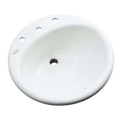 Danbury Circular Drop-In Bathroom Sink with Overflow Sink Finish: White, Faucet Mount: 8 Centers
