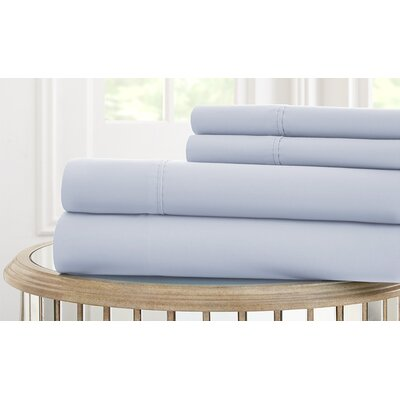 Garrett 800 Thread Count 4 Piece Sheet Set Size: King, Color: Blue