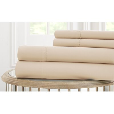 Garrett 800 Thread Count 4 Piece Sheet Set Size: Queen, Color: Tan