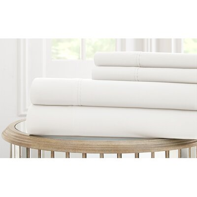Garrett 800 Thread Count 4 Piece Sheet Set Size: King, Color: White