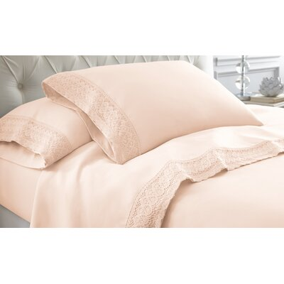 Decarie Crochet Lace Sheet Set Size: Twin, Color: Blush