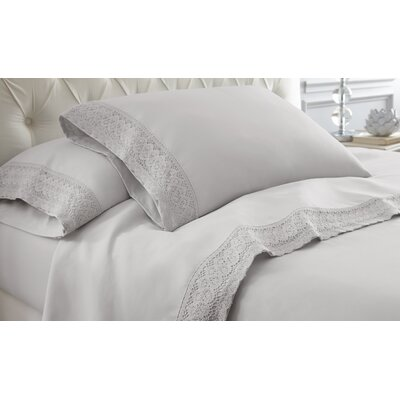 Decarie Crochet Lace Sheet Set Size: Queen, Color: Dove Gray