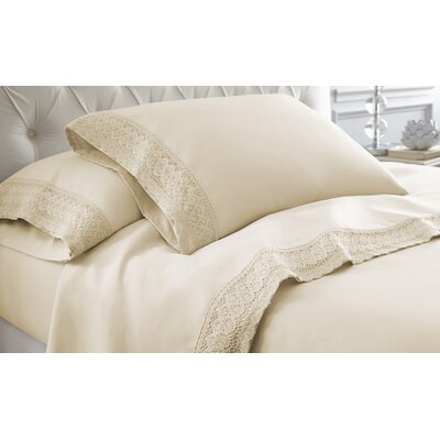 Decarie Crochet Lace Sheet Set Size: King, Color: Linen