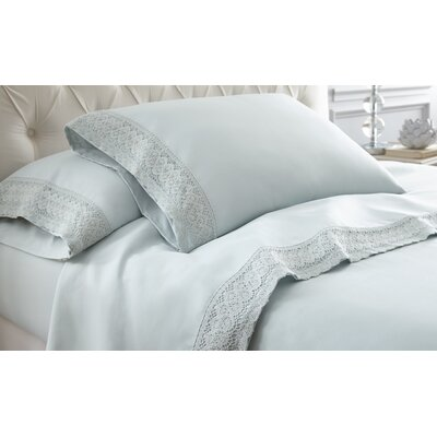 Decarie Crochet Lace Sheet Set Size: King, Color: Seamist