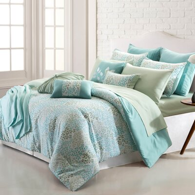 Bog Water Leaves 16 Piece Reversible Bed-In-a-Bag Set Size: Queen