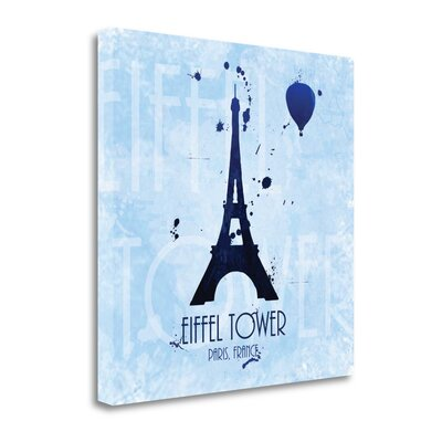 'Eiffel Tower on Blue' Acrylic Painting Print on Wrapped Canvas Size: 20