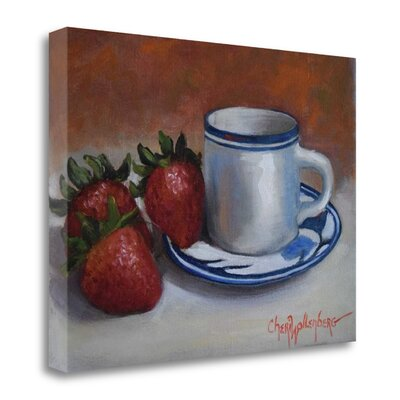 'Strawberries and Cup and Saucer' by Cheri Wollenberg Painting Print on Wrapped Canvas SBCW1078-2116c