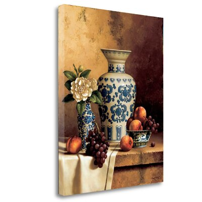 'Blue and White Oriental Still Life with Peaches and Grapes' Photographic Print on Wrapped Canvas CASLP322-1823c