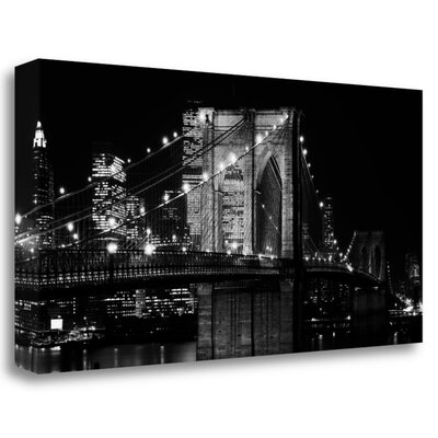 'Brooklyn Bridge at Night' Photographic Print on Wrapped Canvas ICL380D-2915c