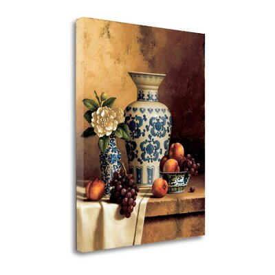 'Blue and White Oriental Still Life with Peaches and Grapes' Photographic Print on Wrapped Canvas CASLP322-2532c