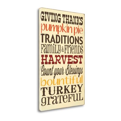 'Giving Thanks' Framed Textual Art Print on Wrapped Canvas Size: 34