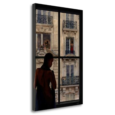'Parisien Affairs I' Framed Oil Painting Print on Wrapped Canvas Size: 29