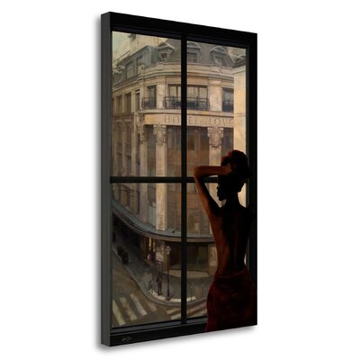 'Parisien Affairs II' Framed Oil Painting Print on Wrapped Canvas Size: 29