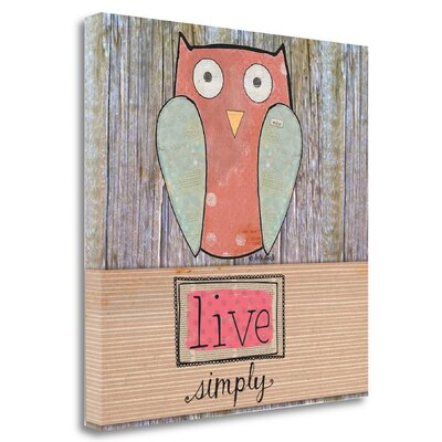 'Simple Owl Square' Acrylic Painting Print on Wrapped Canvas