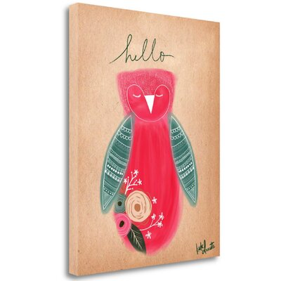 'Hello Owl' Graphic Art Print on Wrapped Canvas Size: 24