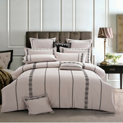 Roman 3 Piece Duvet Cover Set Size: Queen