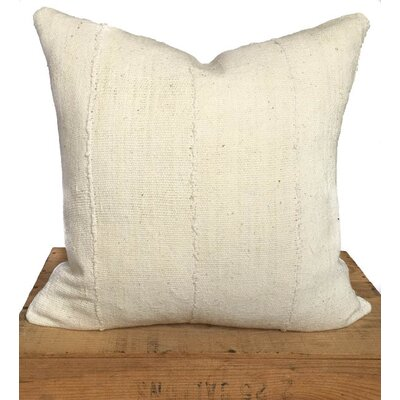 Plain African Mud Cloth Pillow Cover Color: White