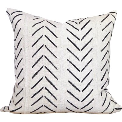 Chevron Arrow Print African Mud Cloth Pillow Cover Color: White