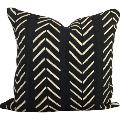 Chevron Arrow Print African Mud Cloth Pillow Cover Color: Black