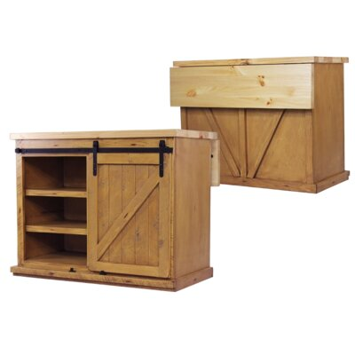 Uli Kitchen Island with Butcher Block Top Base Finish: Aquamarine