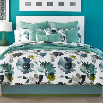 Mia Comforter Set Color: Teal, Size: King