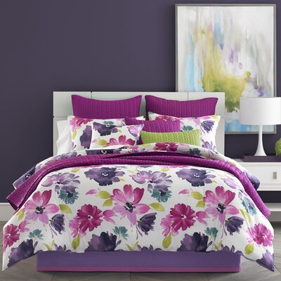 Mia Comforter Set Size: Queen, Color: Fuchsia