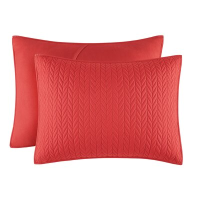 Brott Solid Contemporary Standard Sham Size: King, Color: Red