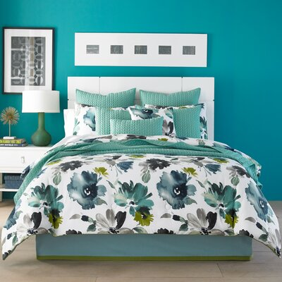 Mia Comforter Set Color: Teal, Size: Full