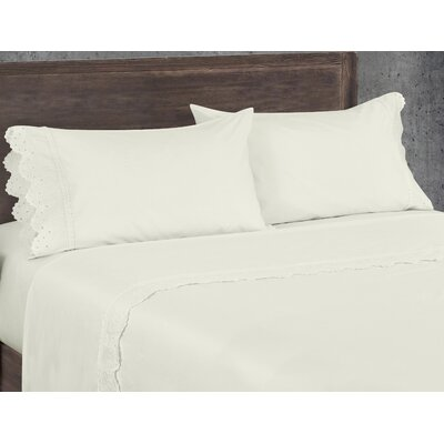 Aurillac 200 Thread Count 100% Cotton Sheet Set Color: Ivory, Size: Queen