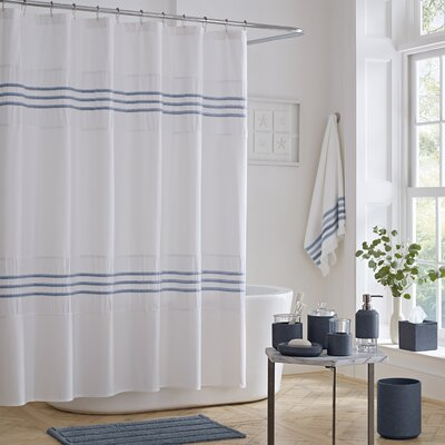 Blaine Cotton Shower Curtain Color: Blue