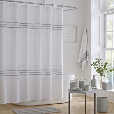Blaine Cotton Shower Curtain Color: Gray