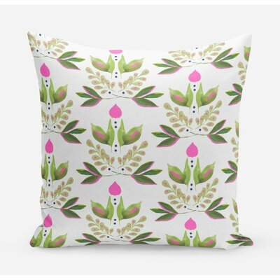 Lotus Cotton Throw Pillow Size: 20 H x 20 W x 4 D, Color: Green