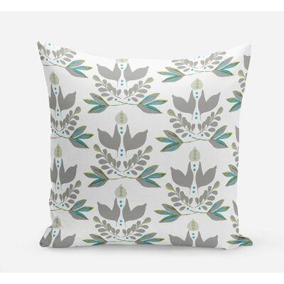 Lotus Cotton Throw Pillow Size: 20 H x 20 W x 4 D, Color: Gray