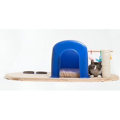 "16"" Modern Cat Condo Color: Blue/beige"