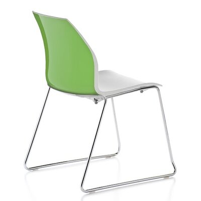 Vortex Sled Base Guest Chair Seat Color: Green/White