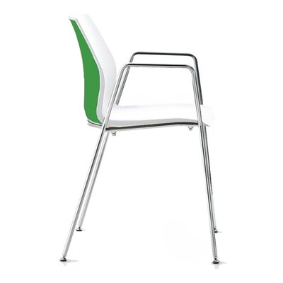 Vortex 4 Leg Guest Chair Seat Color: Green/White