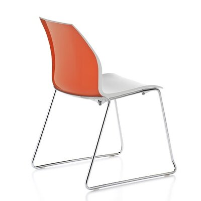 Vortex Sled Base Guest Chair Seat Color: Orange/White